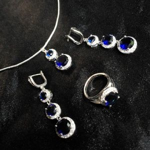 Jewelry - Stamped 925 Jewelry Set : Necklace, Earrings, Ring